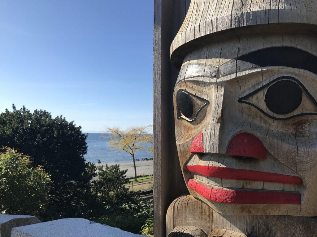 Totems at Grand Chief Bernard Memorial Plaza, White Rock, BC