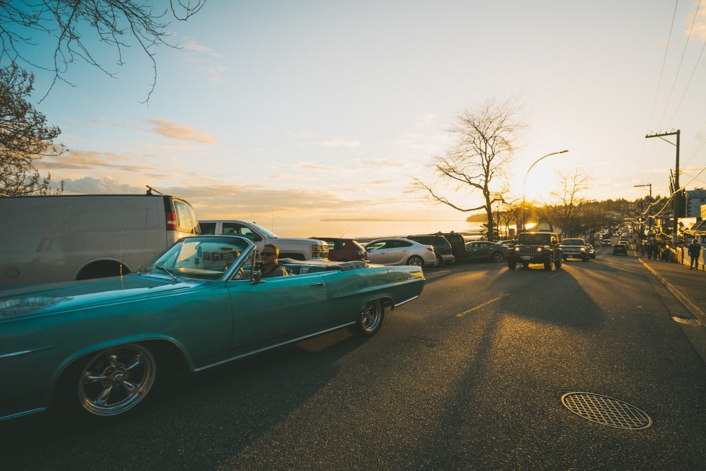 Classic Car cruises on Marine Drive in White Rock